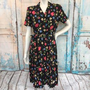VINTAGE LESLIE FAY Black Multi Color Floral Dress